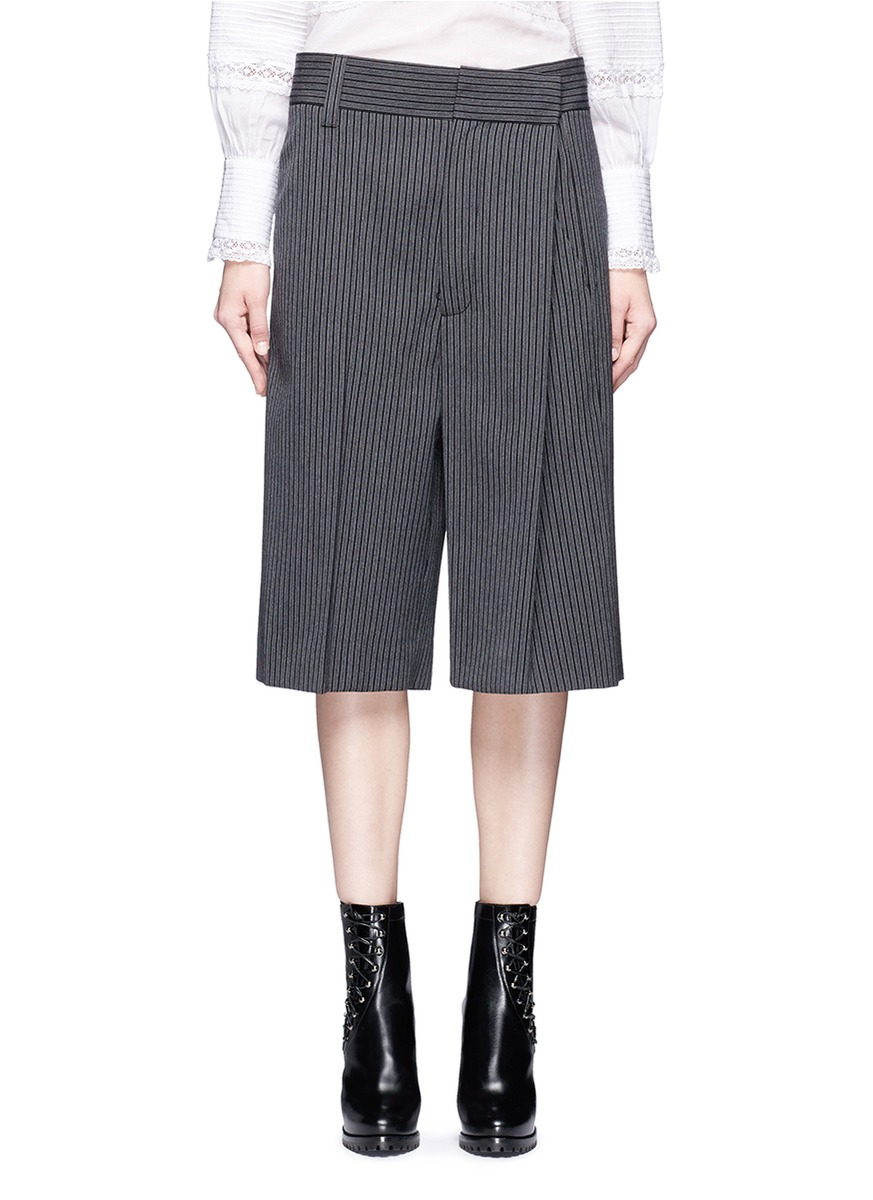 marc jacobs female 45906 pinstripe wool blend cropped wide leg pants