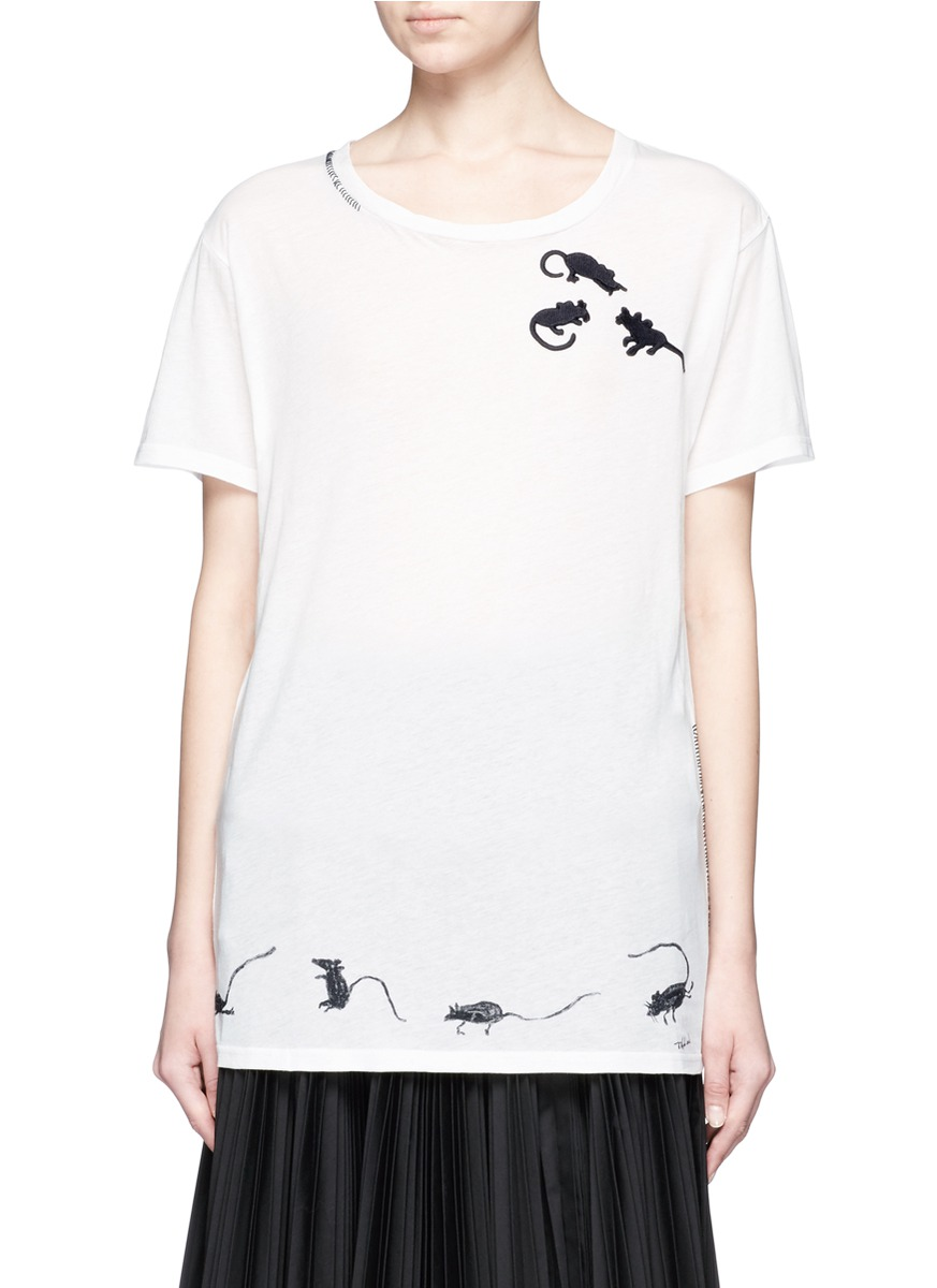 marc jacobs female 45883 mice embroidered cotton tshirt