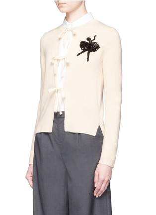 Front View - Click To Enlarge - Marc Jacobs - Embellished ballerina appliqué cashmere cardigan