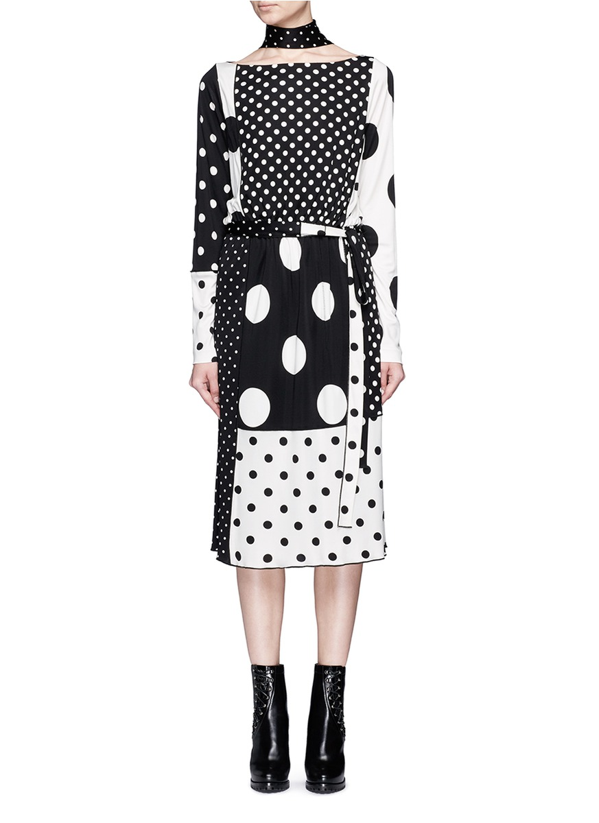 marc jacobs female  contrast polka dot print dress with scarf