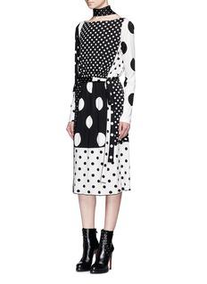Marc JacobsContrast polka dot print dress with scarf