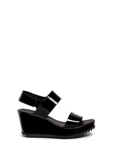 Pedro García 'Fiona' patent leather platform wedge sandals