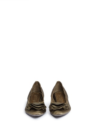 Front View - Click To Enlarge - Pedro García - 'Albany' ruffled satin skimmer flats