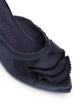 'Alia' ruffled satin slippers