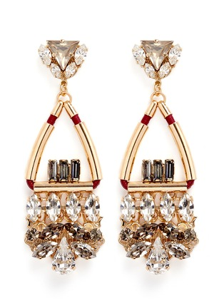 Main View - Click To Enlarge - Anton Heunis - Swarovski crystal glass stone leather cord chandelier earrings