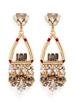Swarovski crystal glass stone leather cord chandelier earrings