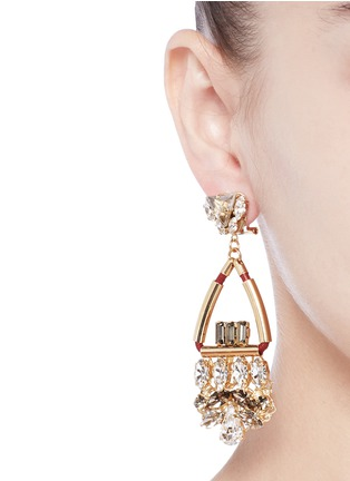 Figure View - Click To Enlarge - Anton Heunis - Swarovski crystal glass stone leather cord chandelier earrings