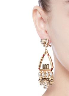 Anton HeunisSwarovski crystal glass stone leather cord chandelier earrings