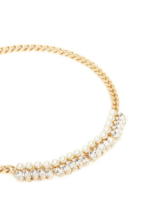 Detail View - Click To Enlarge - Anton Heunis - Glass pearl Swarovski crystal curb chain necklace