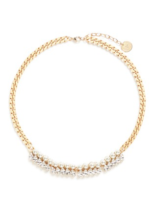 Main View - Click To Enlarge - Anton Heunis - Glass pearl Swarovski crystal curb chain necklace