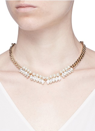 Figure View - Click To Enlarge - Anton Heunis - Glass pearl Swarovski crystal curb chain necklace
