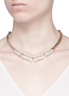 Anton HeunisGlass pearl Swarovski crystal curb chain necklace