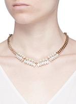 Glass pearl Swarovski crystal curb chain necklace