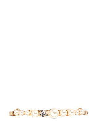 Main View - Click To Enlarge - Anton Heunis - Glass pearl swarovski crystal curved plate bracelet