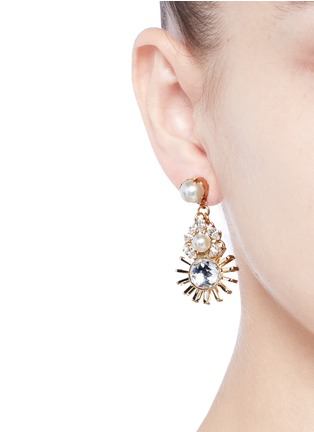 Anton Heunis - Swarovski crystal pearl sunburst drop earrings