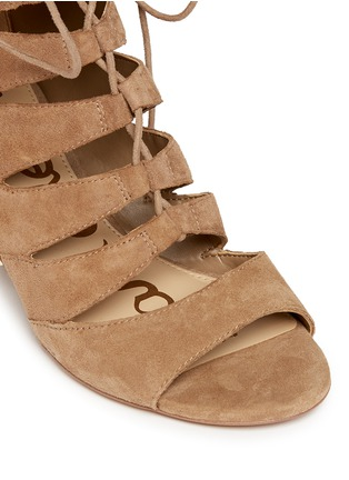 Detail View - Click To Enlarge - Sam Edelman - 'Santina' caged lace-up suede wedge sandals