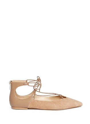 Main View - Click To Enlarge - Sam Edelman - 'Rosie' lace-up suede skimmer flats