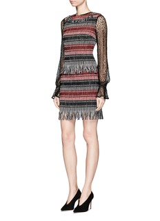 Nicholas Fringe stripe wool blend tweed sleeveless dress