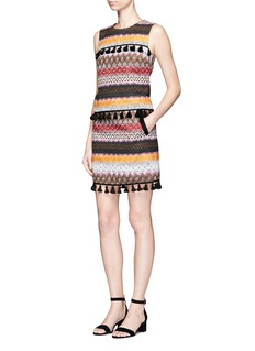 Nicholas Tassel hem zigzag stripe felted mini skirt
