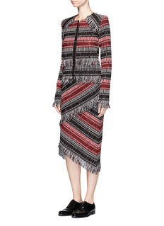 Nicholas Fringe stripe wool blend tweed midi skirt
