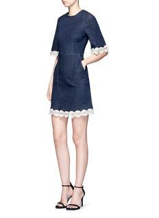 NicholasCrochet lace denim dress