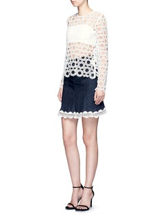 Nicholas Crochet lace denim skirt