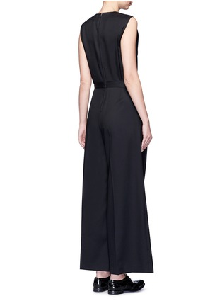 Back View - Click To Enlarge - Hyke - 'Work' belted wide leg wool jumpsuit