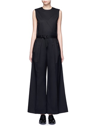 Main View - Click To Enlarge - Hyke - 'Work' belted wide leg wool jumpsuit