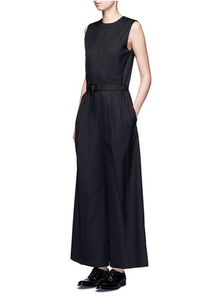 Figure View - Click To Enlarge - Hyke - 'Work' belted wide leg wool jumpsuit