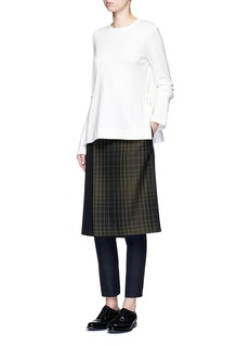 Hyke Check print apron front wool blend pants