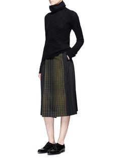 HykeCheck print tuck pleat wrap skirt