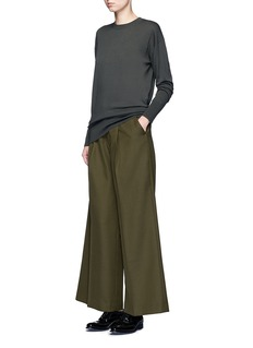 HykeTuck pleat wool blend wide leg pants