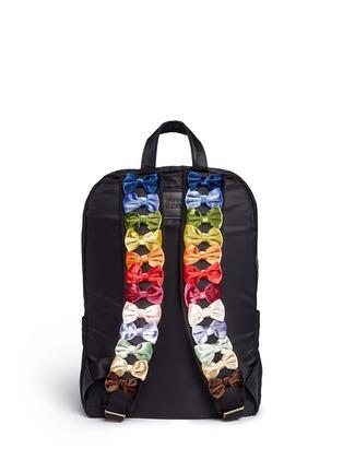 Tu Es Mon Trésor-Velvet ribbon appliqué strap nylon backpack