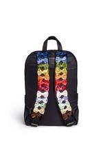 Velvet ribbon appliqué strap nylon backpack