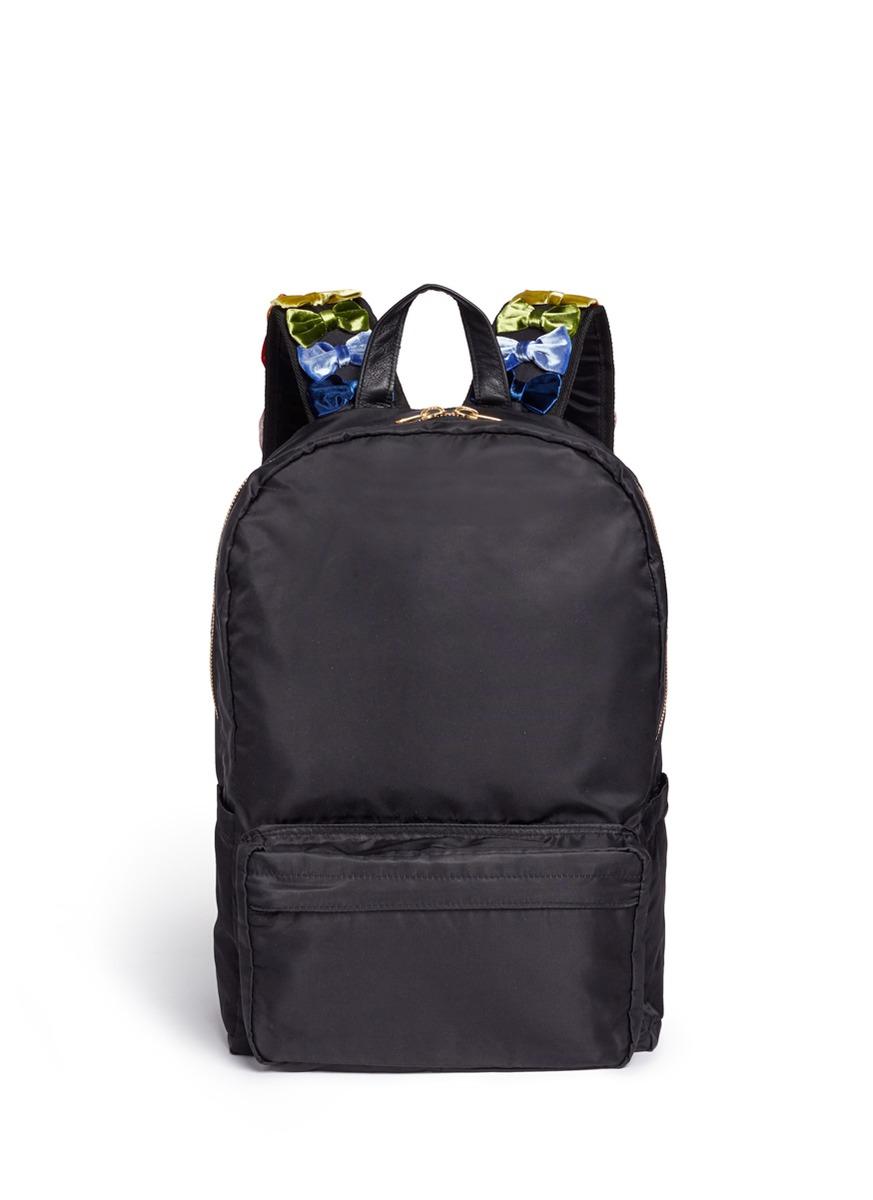 Velvet ribbon appliqué strap nylon backpack by Tu Es Mon Trésor