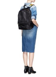 Tu Es Mon TrésorVelvet ribbon appliqué strap nylon backpack