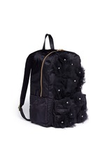 Jewelled tulle floral appliqué nylon backpack