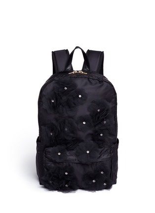 Tu Es Mon Trésor - Jewelled tulle floral appliqué nylon backpack