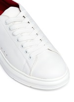 'Lory' colourblock croc embossed heel leather sneakers