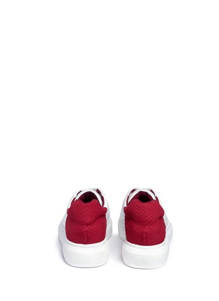Back View - Click To Enlarge - Pedder Red - 'Lory' colourblock croc embossed heel leather sneakers