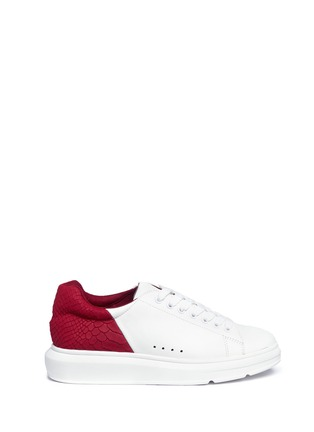 Main View - Click To Enlarge - Pedder Red - 'Lory' colourblock croc embossed heel leather sneakers