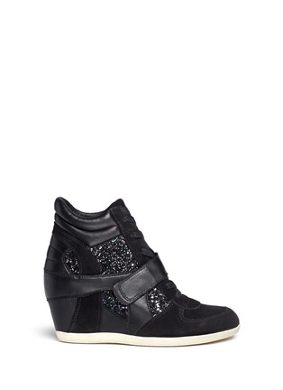 Main View - Click To Enlarge - Ash - 'Bowie' glitter leather combo concealed wedge sneakers