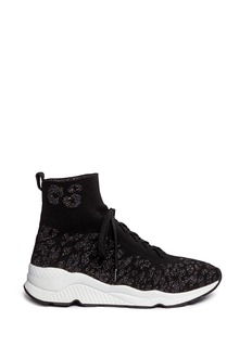 Ash'Maniac' glitter cheetah print knit sneakers