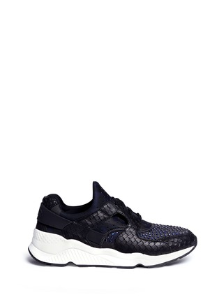 Main View - Click To Enlarge - Ash - 'Mood' hotfix strass snakeskin effect camouflage sneakers