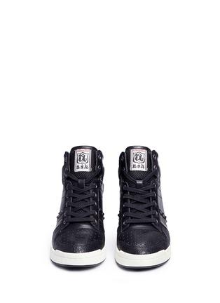 Front View - Click To Enlarge - Ash - 'Prince' stud high top leather wedge sneakers
