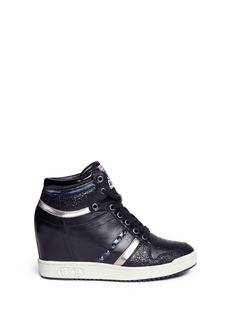 Ash'Prince' stud high top leather wedge sneakers