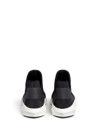 Back View - Click To Enlarge - Ash - 'Quid' geometric sole quilted neoprene sneakers