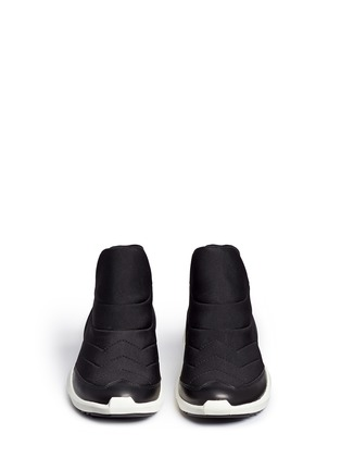 Front View - Click To Enlarge - Ash - 'Quid' geometric sole quilted neoprene sneakers