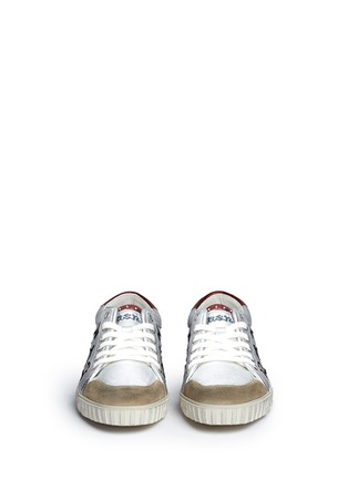 Front View - Click To Enlarge - Ash - 'Majestic' star appliqué metallic leather sneakers
