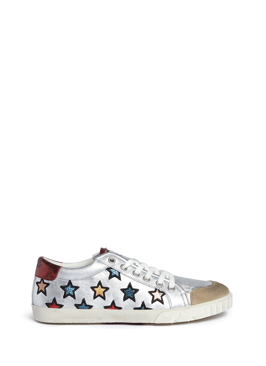 Majestic star appliqué metallic leather sneakers by Ash